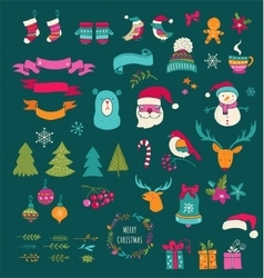Christmas design elements - doodle xmas symbols vector