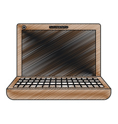 Color crayon stripe silhouette of laptop computer vector