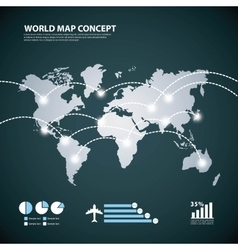 Earth and lights icon World and Map design vector image