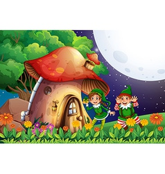 Elf and house vector