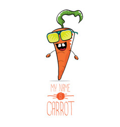 Funny cartoon orange carrot isolated vector