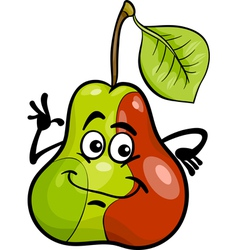 funny pear fruit cartoon vector image vector image
