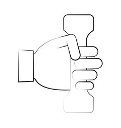 hand holding dumbbell fitness related icon image vector image vector image