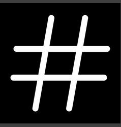 hashtag white color icon vector image vector image