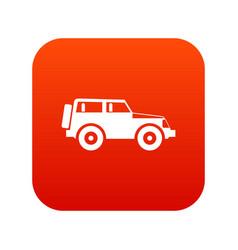 Jeep icon digital red vector
