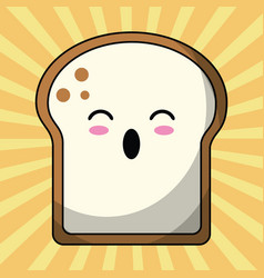 kawaii slice bread image vector image