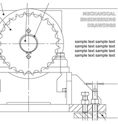Mechanical engineering drawings on white vector