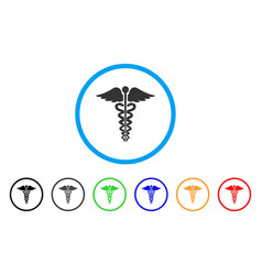 medical caduceus emblem rounded icon vector image