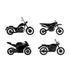 Motorcycles silhouettes set vector