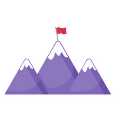 Mountains with flag icon vector