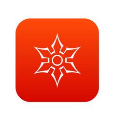 ninja shuriken star weapon icon digital red vector image