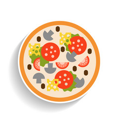 Pizza with sausage tomatoes mushrooms and cheese vector