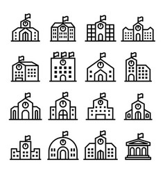 school icon set in thin line style vector image vector image