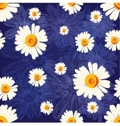 Seamless pattern with chamomiles on blue vector image vector image