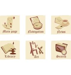 Set of antique parchment icons vector image