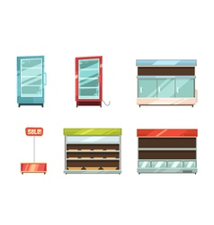 Supermarket displays racks shelves icons set vector