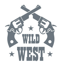 wild west revolver logo simple style vector image