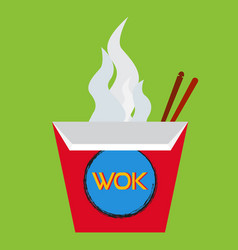 wok box with chopsticks vector image vector image