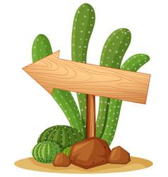 Wooden sign in cactus garden vector