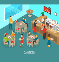 Workplace canteen lunch isometric poster vector