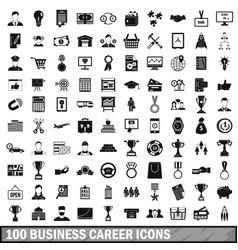 100 business career icons set simple style vector
