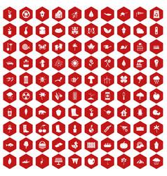 100 garden stuff icons hexagon red vector