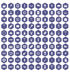100 meat icons hexagon purple vector