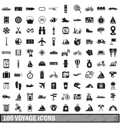 100 voyage icons set simple style vector