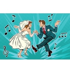 Dancing bride and groom vector