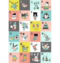 Merry christmas advent calendar xmas poster vector
