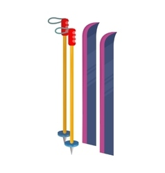 Ski and Sticks Isolated Skiing Gear Set vector image
