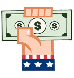 Caucasian american hand holding up cash vector