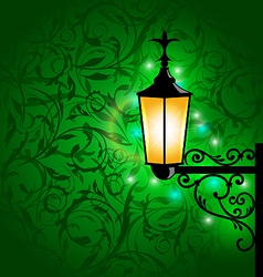 Arabic lamp with lights card for ramadan kareem vector