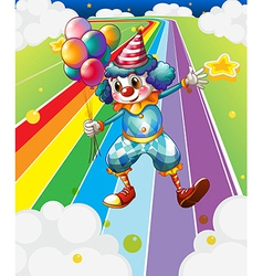 A clown with balloons at the colorful street vector