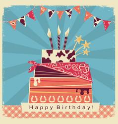 Cowboy party card with happy birthday big cake vector