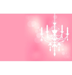 Chandelier on pink postcard vector image