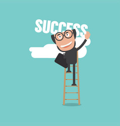businessman climb up fixed ladder to reach success vector image