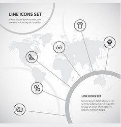 Set of 6 editable trade outline icons includes vector