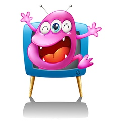 A blue TV with a pink monster vector image