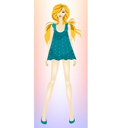 Young beautiful slender girl blonde vector