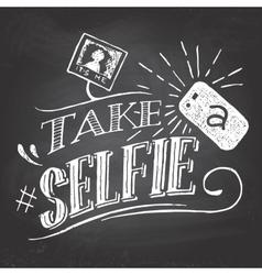Take a selfie on blackboard vector