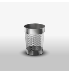 Empty steel trash can realistic icon vector