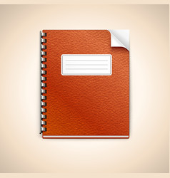 Spiral ring workbook with leather cover vector