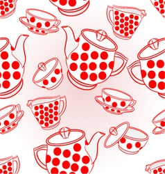 Seamless texture tea service with red dots vector