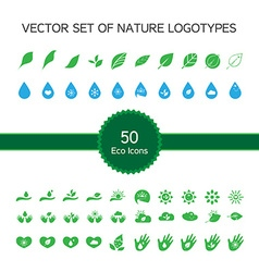 Set of 50 ecology icons nature logo biology vector