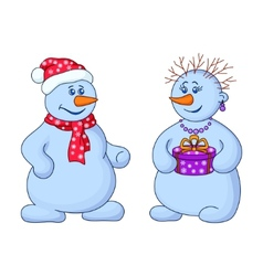 Snowballs with a gift box vector
