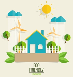 ECO FRIENDLY Ecology concept with Green city and vector image