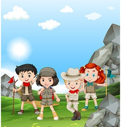 Children camping out in the field vector image