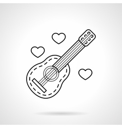Guitar and hearts black flat line icon vector