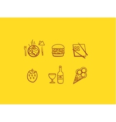 Line art food icons vector